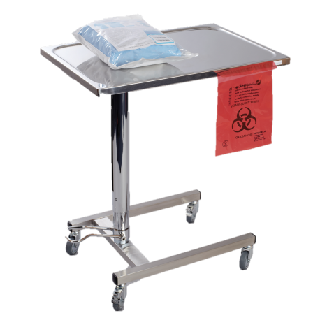 Mayo table with hydraulic adjustment