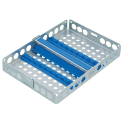 Steritray Midi with transverse bar, blue 180 x 130 mm